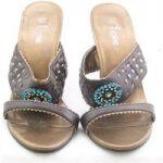 Fiore, size 5 brown stiletto heeled slide sandals