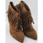 NWOT Autograph, size 6.5 tan suede fringed ankle boots