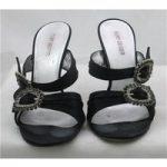 Kurt Geiger, size 5/38 black slide sandals with jewelled buckles