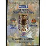 Rugby Programme – Zurich Championship Final 2002 – Bristol Shoguns vs Gloucester