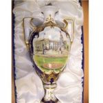 Buckingham Palace and Queen's Coat of Arms Vase