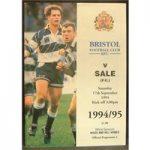 Rugby – 11 programmes – Bristol RFU – 1994/1995 (Includes 2 tickets)