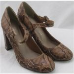 *NWOT Autograph, size 4.5 tan snake skin effect block heeled Mary Janes