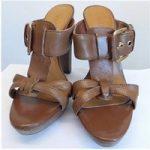 VIA UNO Brown Platform High Heel Leather Sandals, Size: 3.5