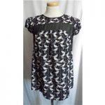 Dorothy Perkins Luxe size: 10 black mix bird print smock top