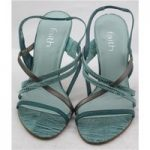Faith, size 5 green mix strappy sandals