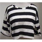 Topshop S: 8 Black and White Striped Top