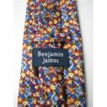 Benjamin James Size 4″ Width Red Yellow Blue White and Orange Floral Silk Tie