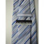 Austin Reed Size 4″ Width White Blue And Grey Diagonal Striped Silk Tie
