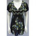 Rocha John Rocha (Debenhams) – Size 8 – Black – Floral Patterned – 100% Silk – Dress