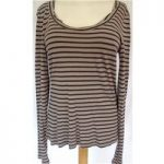 Kew Size M Black and Brown Striped Top
