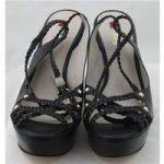 Hogl, size 7/41 black plaited wedge heeled platform sandals