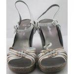 NWOT Clarks, size 6 white & gold platform wedge heeled sandals