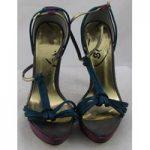 Schuh, size 6.5/40 purple & teal high heeled platform sandals