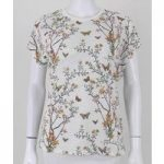 Per Una Cream Butterfly and Floral Print Tshirt Size 12