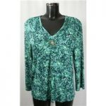 Country Casuals Petite size XL green print with brooch detailing top