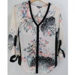 Warehouse – as new, Size: 8 – Semi-sheer top with print on ivory