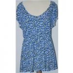 Per Una Size 18 Blue with White and Yellow Floral Pattern Short Sleeved Top