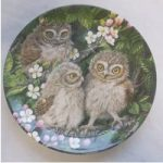 Vintage Wedgwood Bone China Baby Owls Dick Twinney Little Owl Chicks Plate