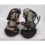 NWOT Autograph, size 3.5 black suede sandals with black/pink perspex heel