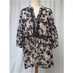 M&S Collection – Size: 10 – Black/Mulberry print – Floaty Smock top