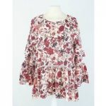 BNWT Marks & Spencer – Size: 12 – Red Floral – Ruffle Top