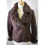 M and Co Brown faux fur/ faux suede jacket size 12
