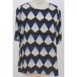 Unbranded – Size: XL Navy Blue, Brown and White Patterned Top