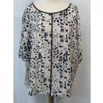 M&S Marks & Spencer Collection – Size: 10 – Cream/grey Print- Blouse