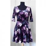 New Look – Size: 14 – Black with Pink, Grey and White Floral Skater Dress