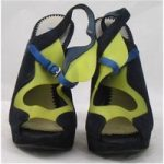Shwopped by Tulisa Pollini. size 6/39 navy mix suede platform sandals
