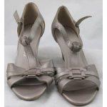 NWOT Footglove, size 5.5 metallic leather wedge heeled sandals